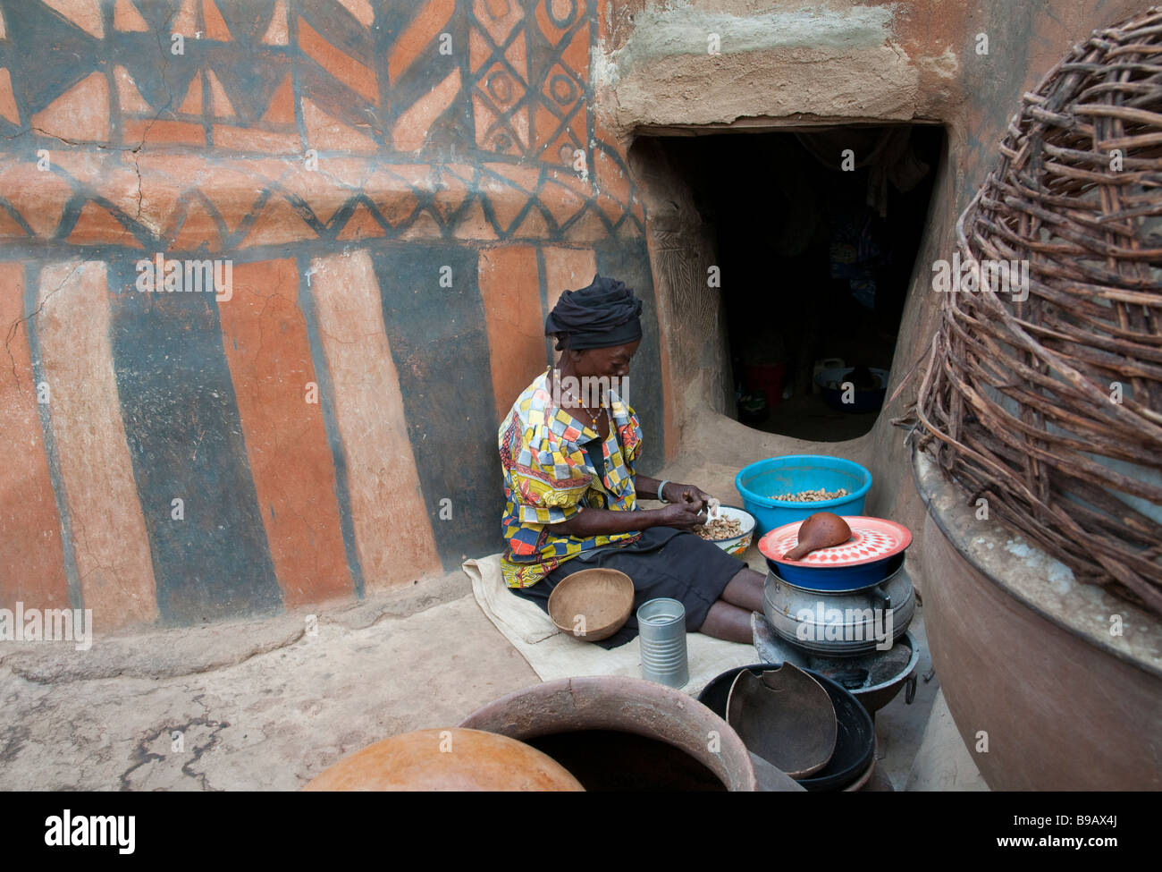 West Africa Burkina Fasso Gourounsi country Tiebele Kings court - Stock Image
