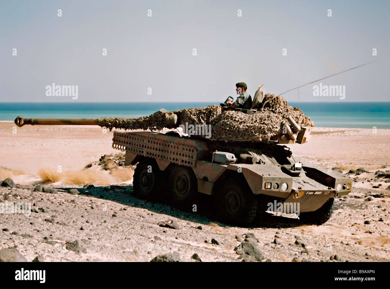 Armoured reconnaissance tank Sagaie on the beach of Tadjoura Djibouti Northeast Africa French Foreign Legion 1990 - Stock Image