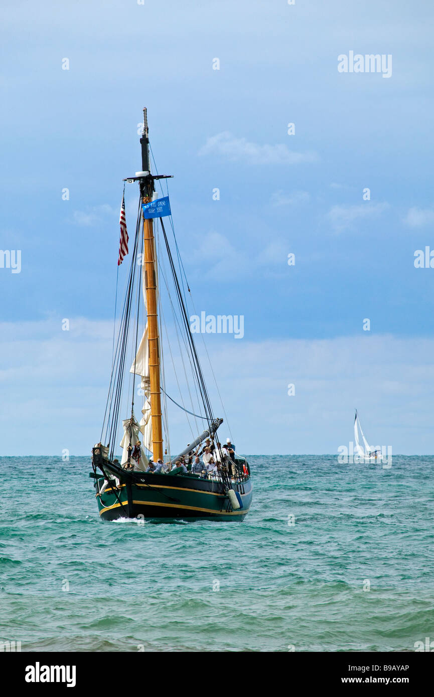 The historic sloop 'Friends Good Will' arrives in South Haven, Michigan on her maiden voyage. - Stock Image