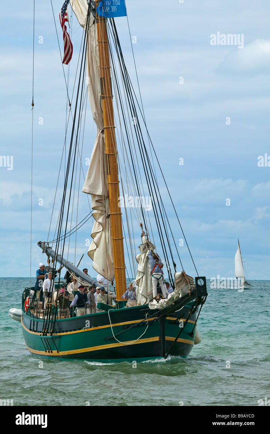The historic ship 'Friends Good Will' arrives in South Haven, Michigan on her maiden voyage - Stock Image