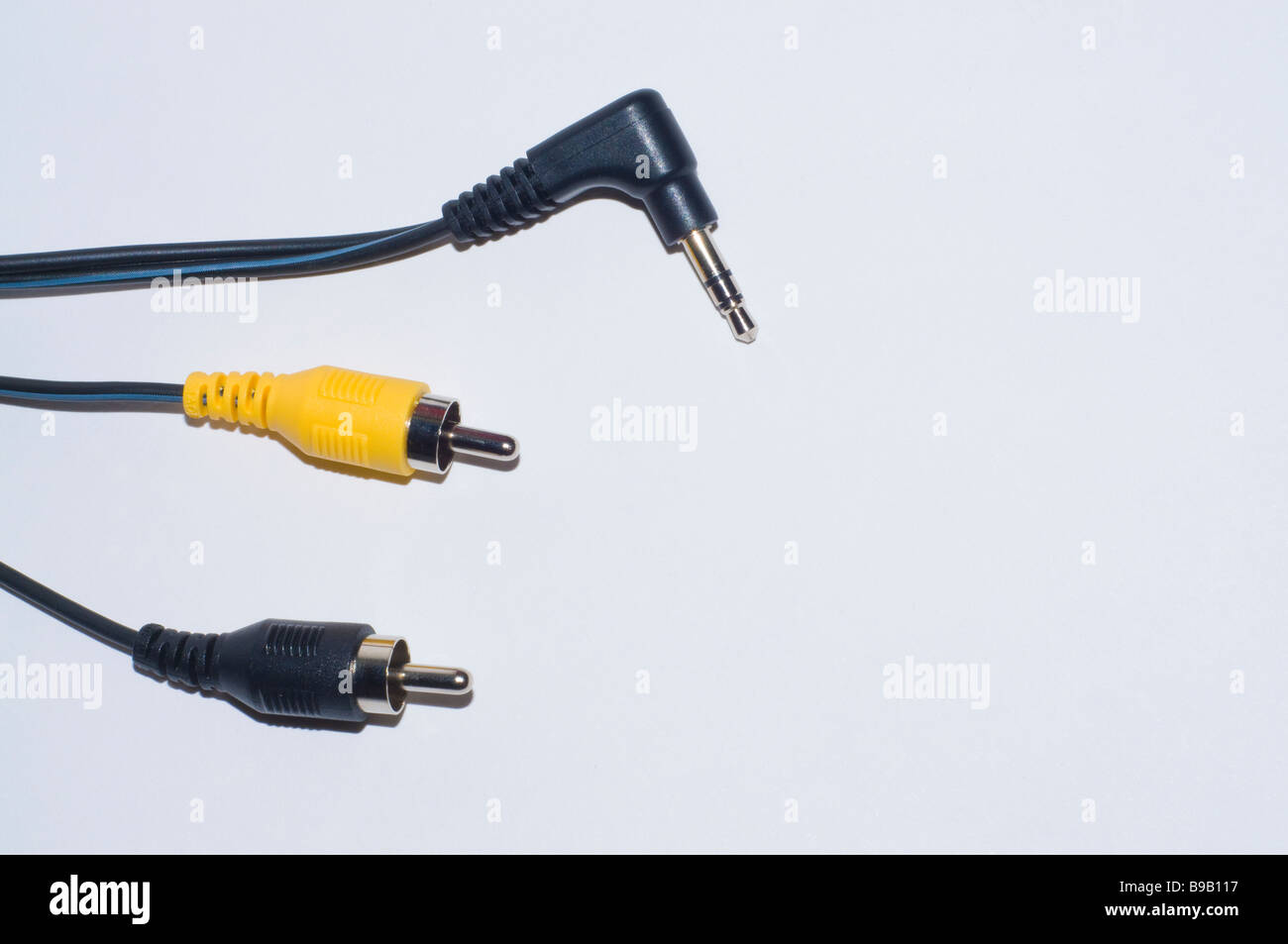 """Audio cables two phono and one 1/4"""" jack Stock Photo"""