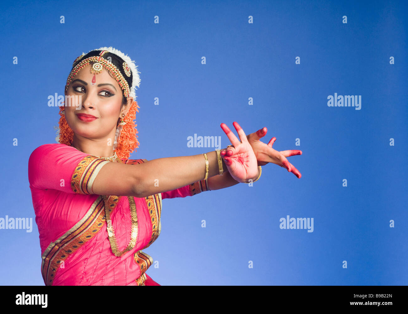 70abbc145829 South Indian Woman performing Bharatnatyam the classical dance of India -  Stock Image