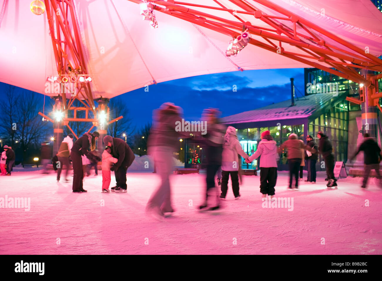 Ice Skaters at The Forks Plaza, downtown Winnipeg, Manitoba, Canada. - Stock Image
