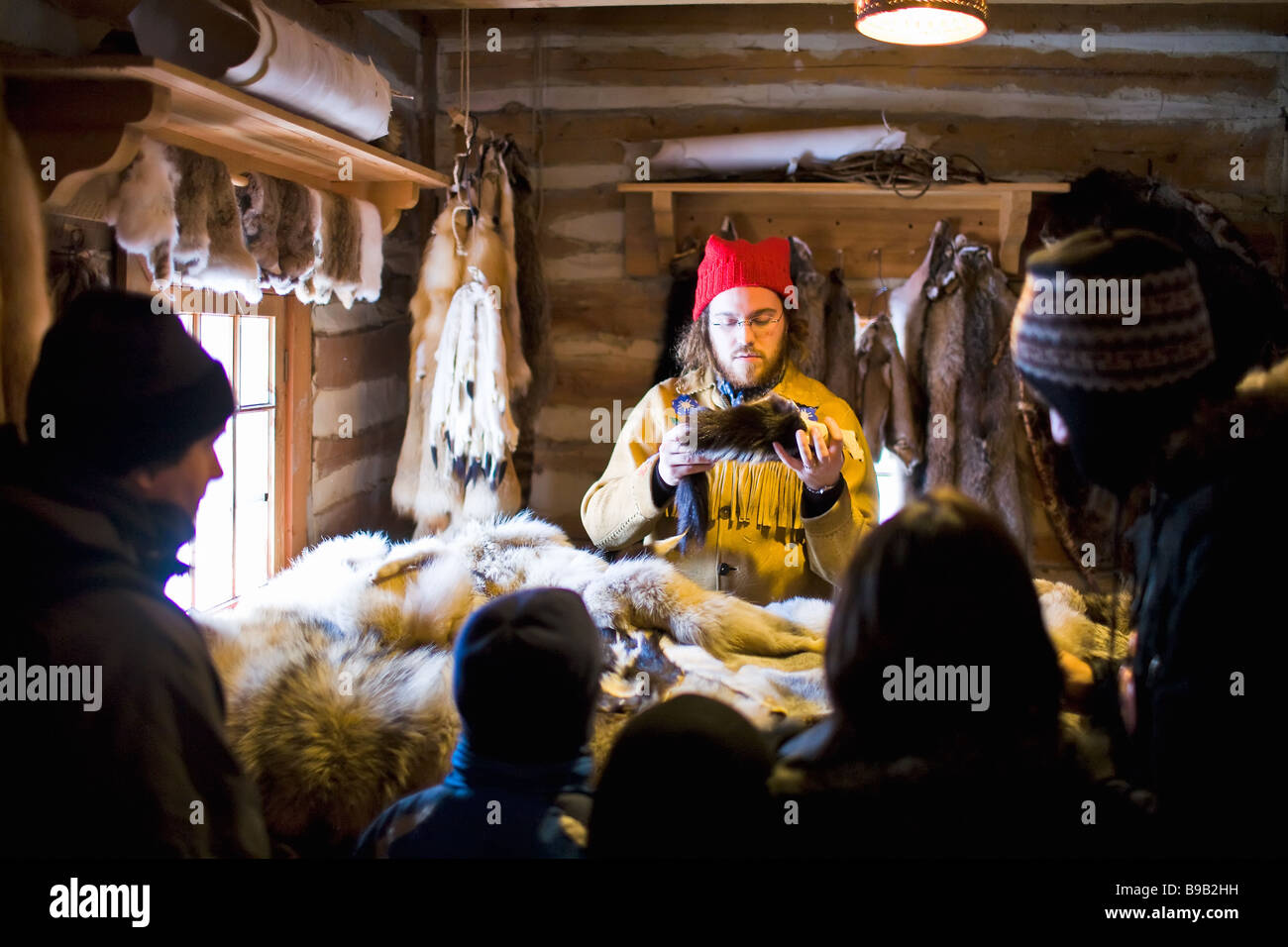 A French Canadian Fur trader at the Festival du Voyageur, St. Boniface, Winnipeg, Manitoba, Canada. - Stock Image