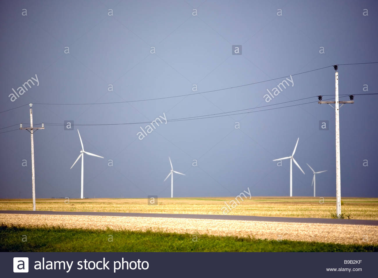 Wind energy turbines and Power transmission lines, St. Leon, Manitoba, Canada. - Stock Image