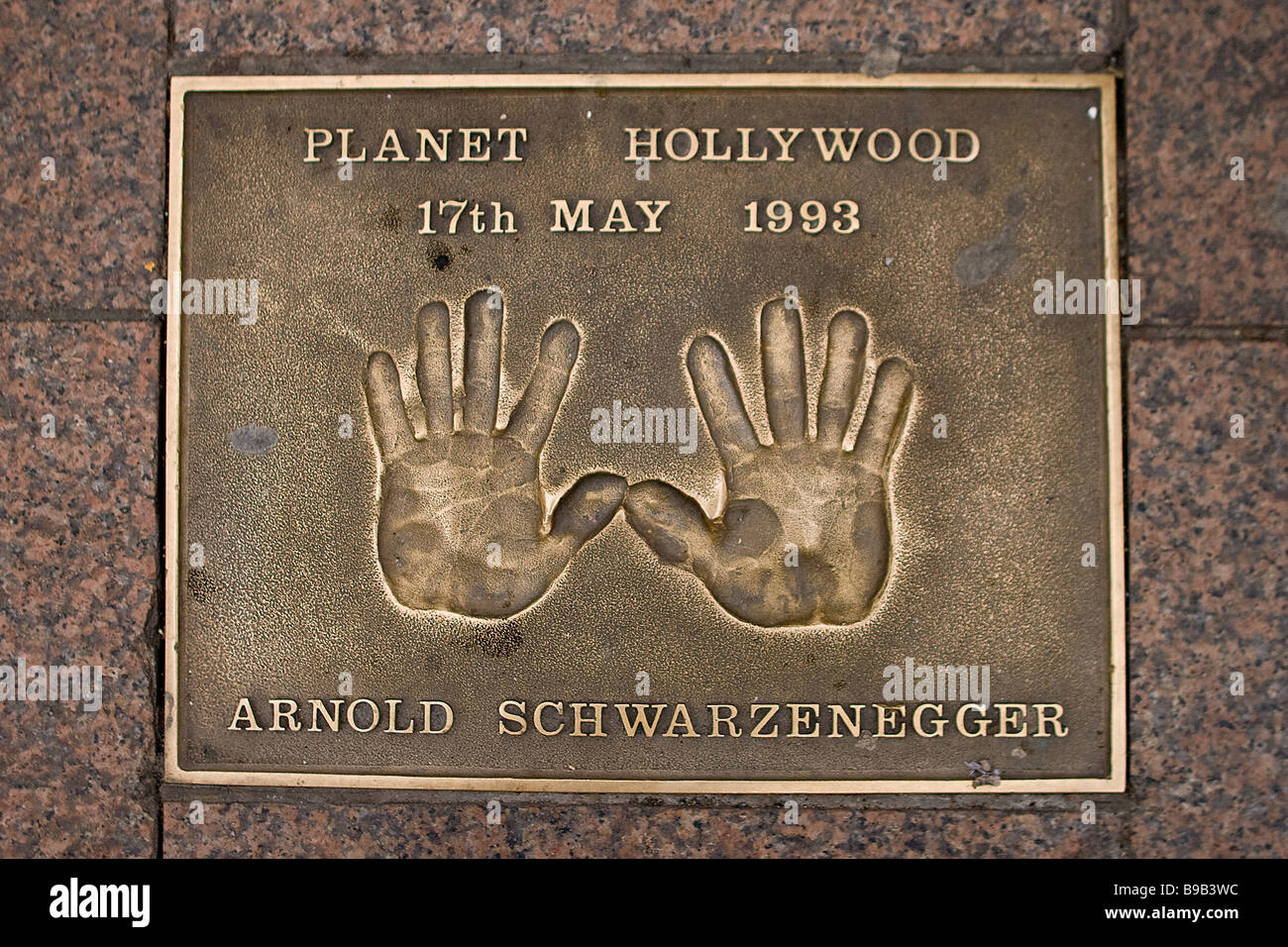 Film stars bronze hand prints in Leicester Square, London, UK Stock Photo