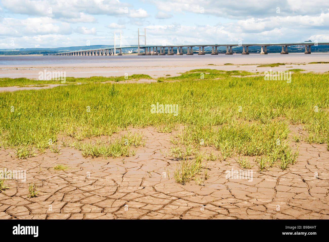 View of the Second Severn Crossing (1996), as seen from Severn Beach near Bristol, England, UK - Stock Image