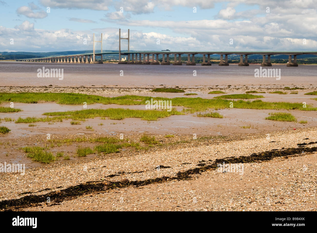 View of the Second Severn Crossing (1996), as seen from Severn Beach near Bristol - Stock Image