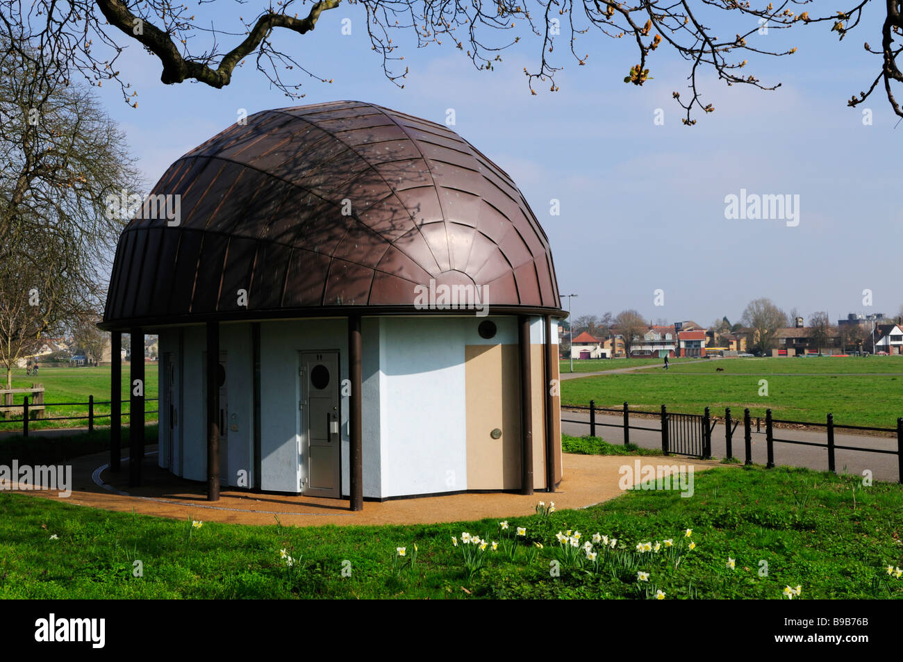 Block Of Public Toilets On Midsummer Common Cambridge England UK