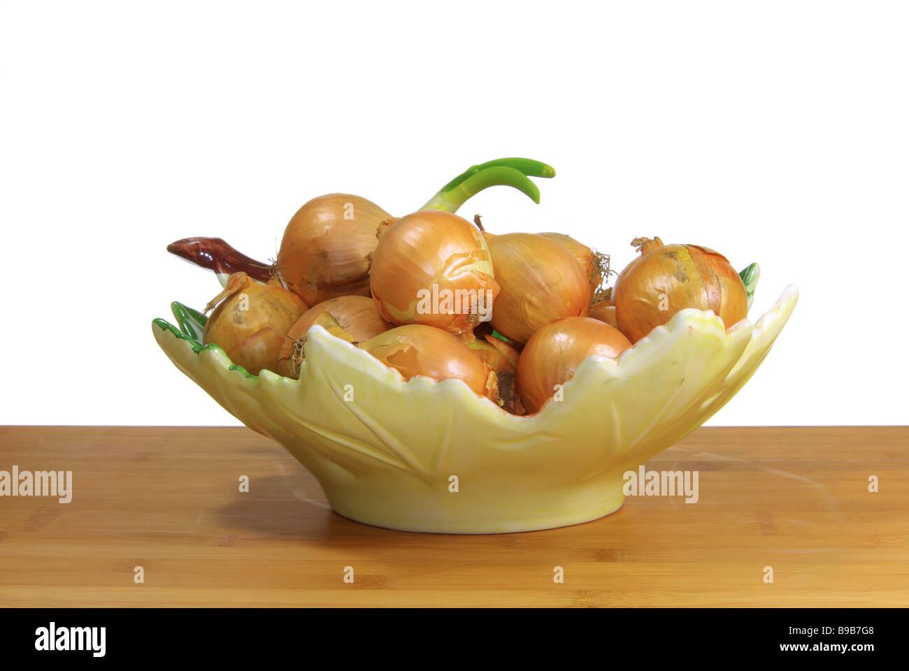 Zwiebel in Schale onion in bowl 02 Stock Photo