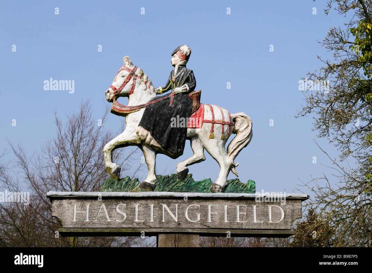 Village Sign, Haslingfield, Cambridgeshire England UK - Stock Image