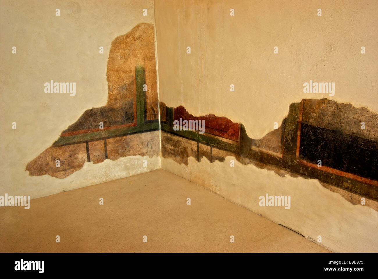 Remains of restored wall mural in vivid colour saturation and longevity in King Herod's private Masada palace - Stock Image