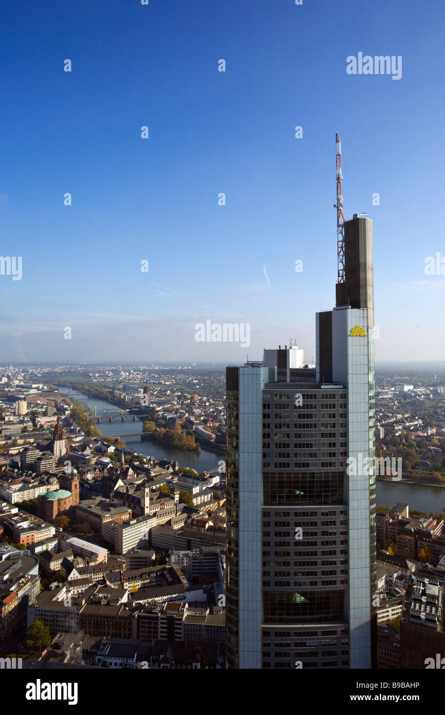 Commerzbank Tower and view over Frankfurt Stock Photo