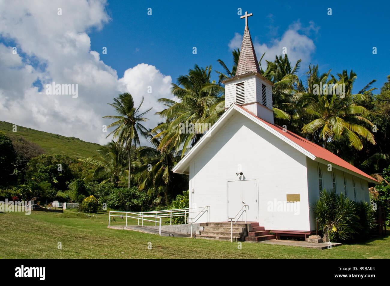 Our Lady of Seven Sorrows Catholic Church, Molokai, Hawaii. Stock Photo