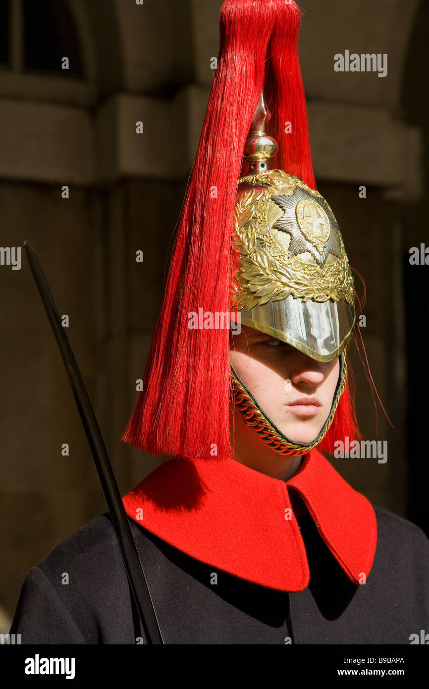 Horseguard of Blues and Royals on guard duty at entrance to Horseguards Parade Whitehall Westminster London UK GB - Stock Image