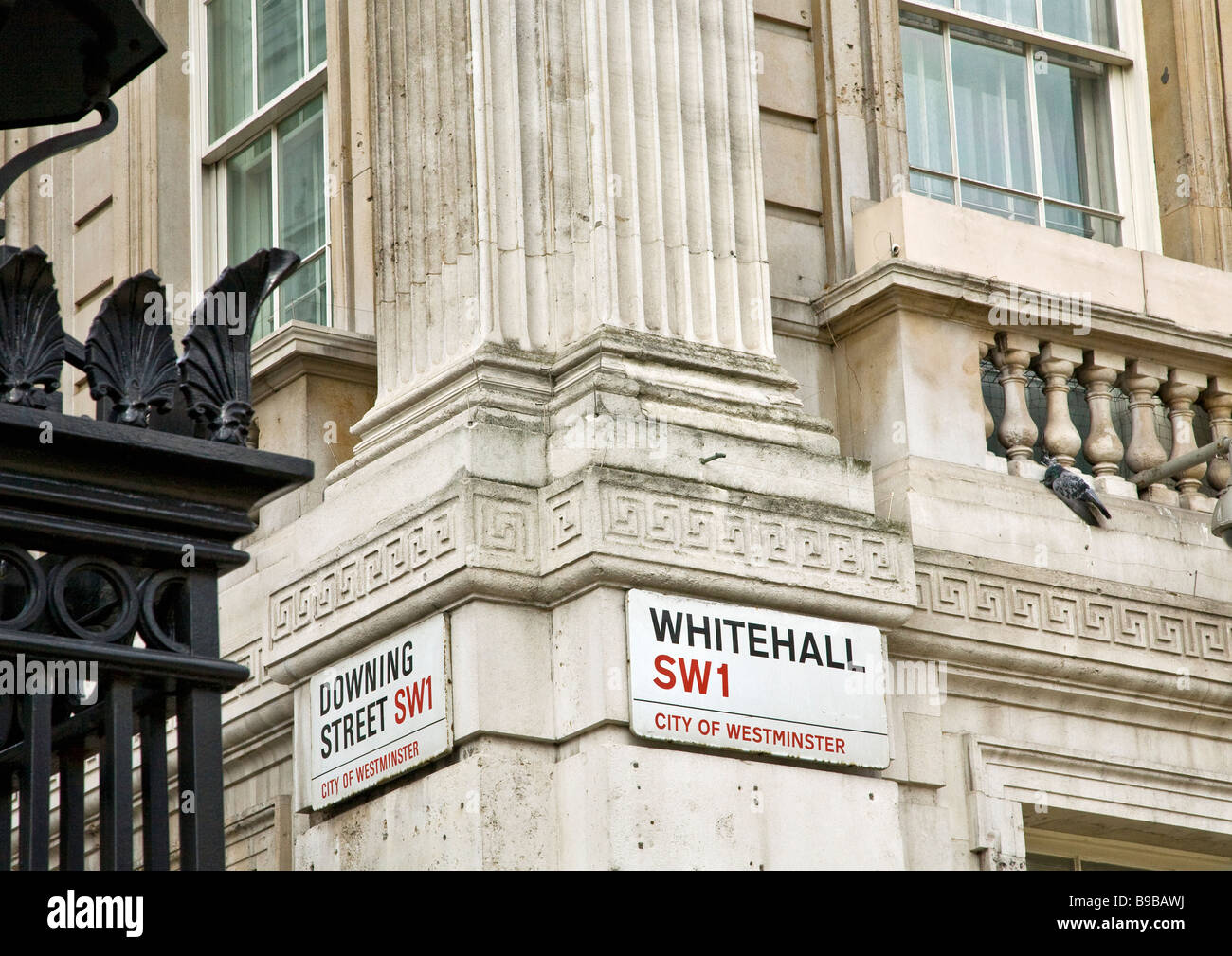 Downing Street and Whitehall signs Westminster London UK GB London England UK United Kingdom GB Great Britain British - Stock Image