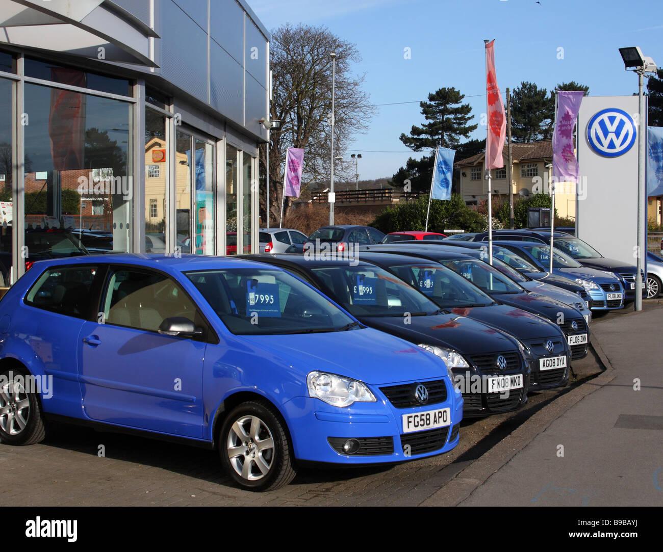 A VW dealership in a U.K. city. - Stock Image