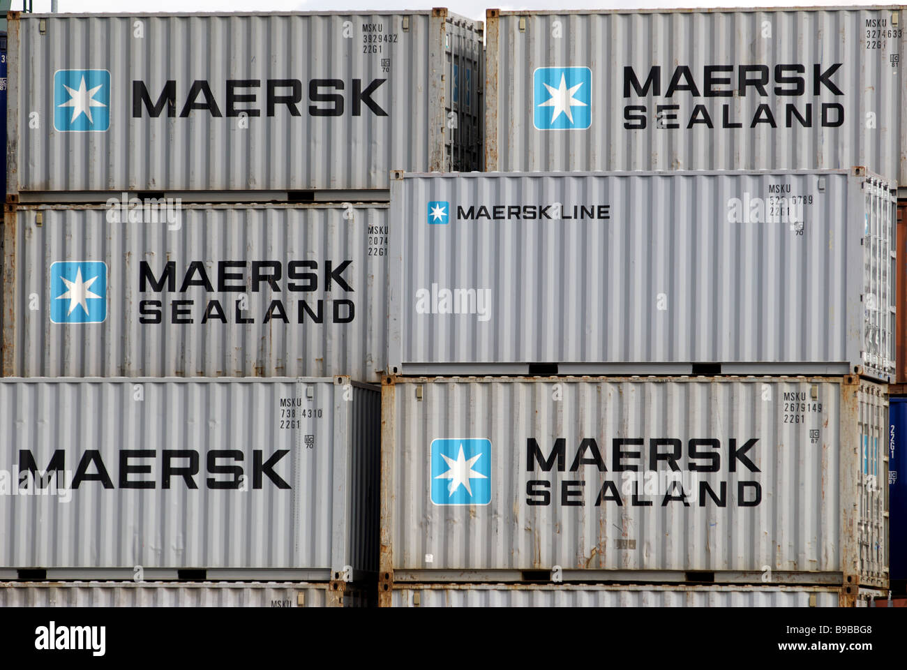 Maersk Sealand containers, Cologne Niel freight terminal, Germany. - Stock Image