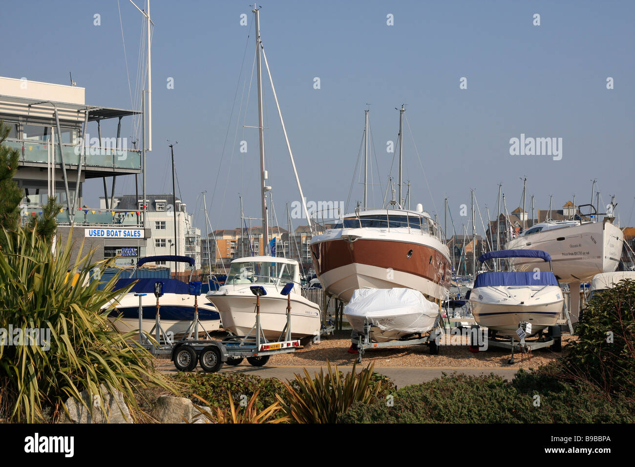Yachts and cabin cruisers for sale. - Stock Image
