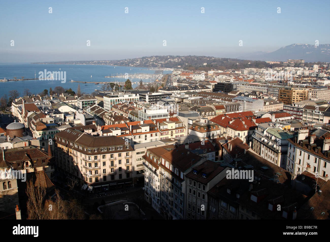 view over the center of geneva in the early evening from the tower of cathedral st pierre geneva switzerland - Stock Image