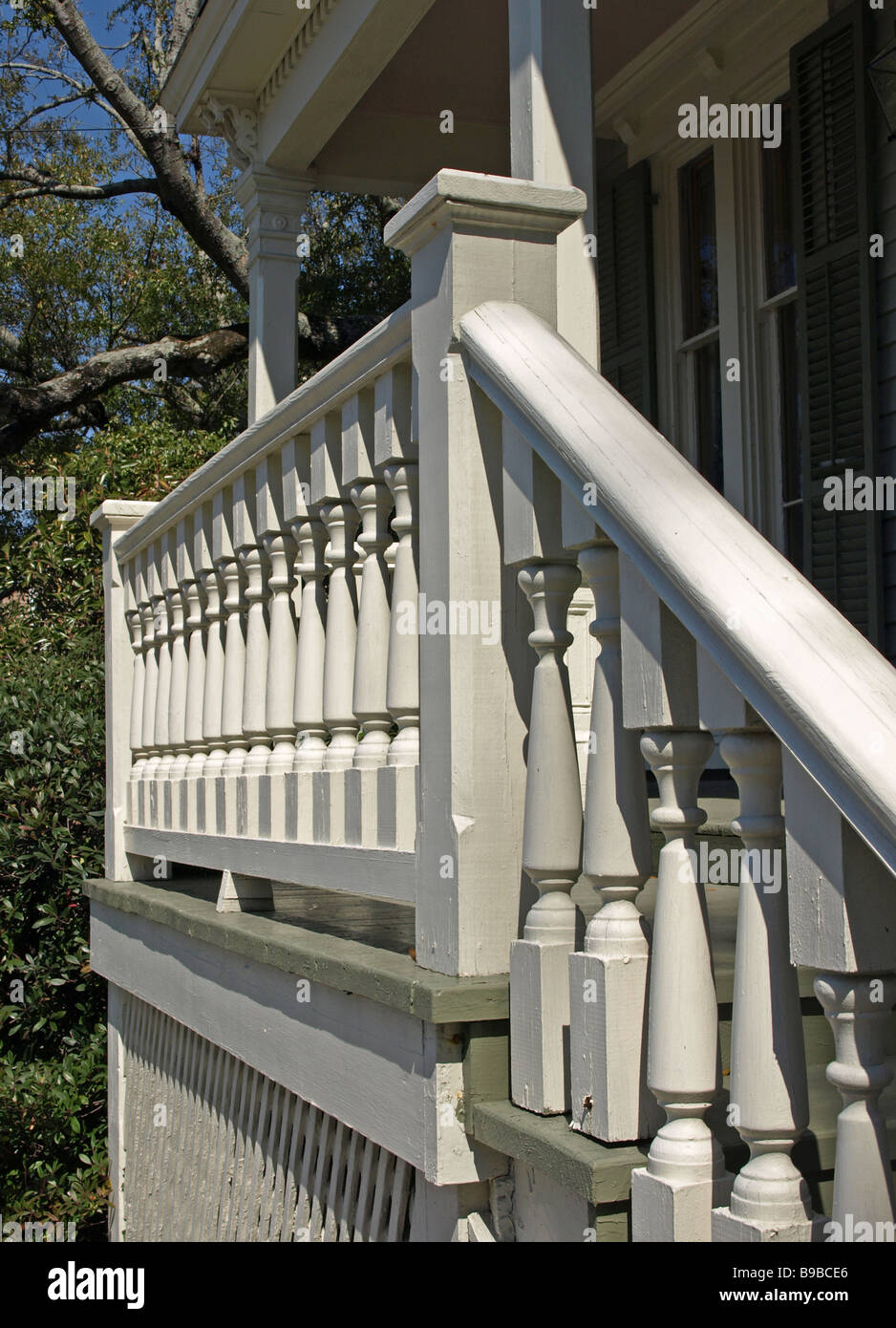 Outside Stairway Banister White Wood Turns Wooden Railing Stairs