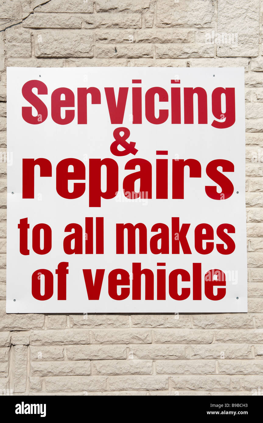 Sign for servicing and repairs to all makes of vehicles - Stock Image