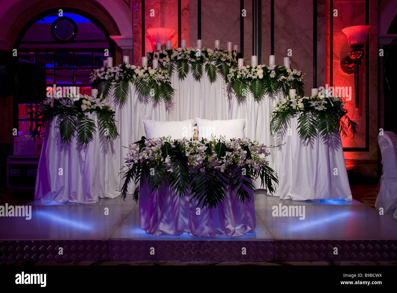 Wedding Hall Decorated With Flowers And Candles Beirut Lebanon