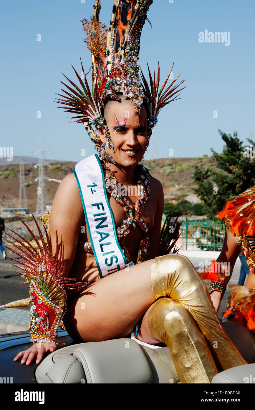 6452f7a8e26 Drag queen competition finalist at Maspalomas carnival on Gran Canaria in  the Canary islands - Stock