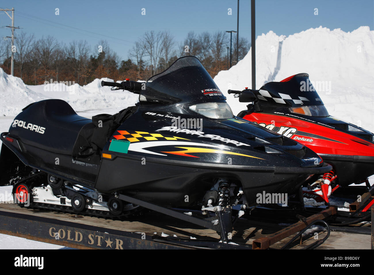 Snowmobile parked on the street in USA - Stock Image