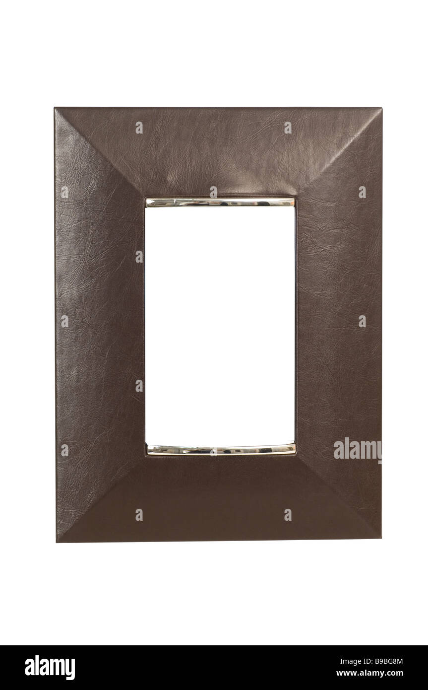 Black leather picture frame cutout on a white background - Stock Image
