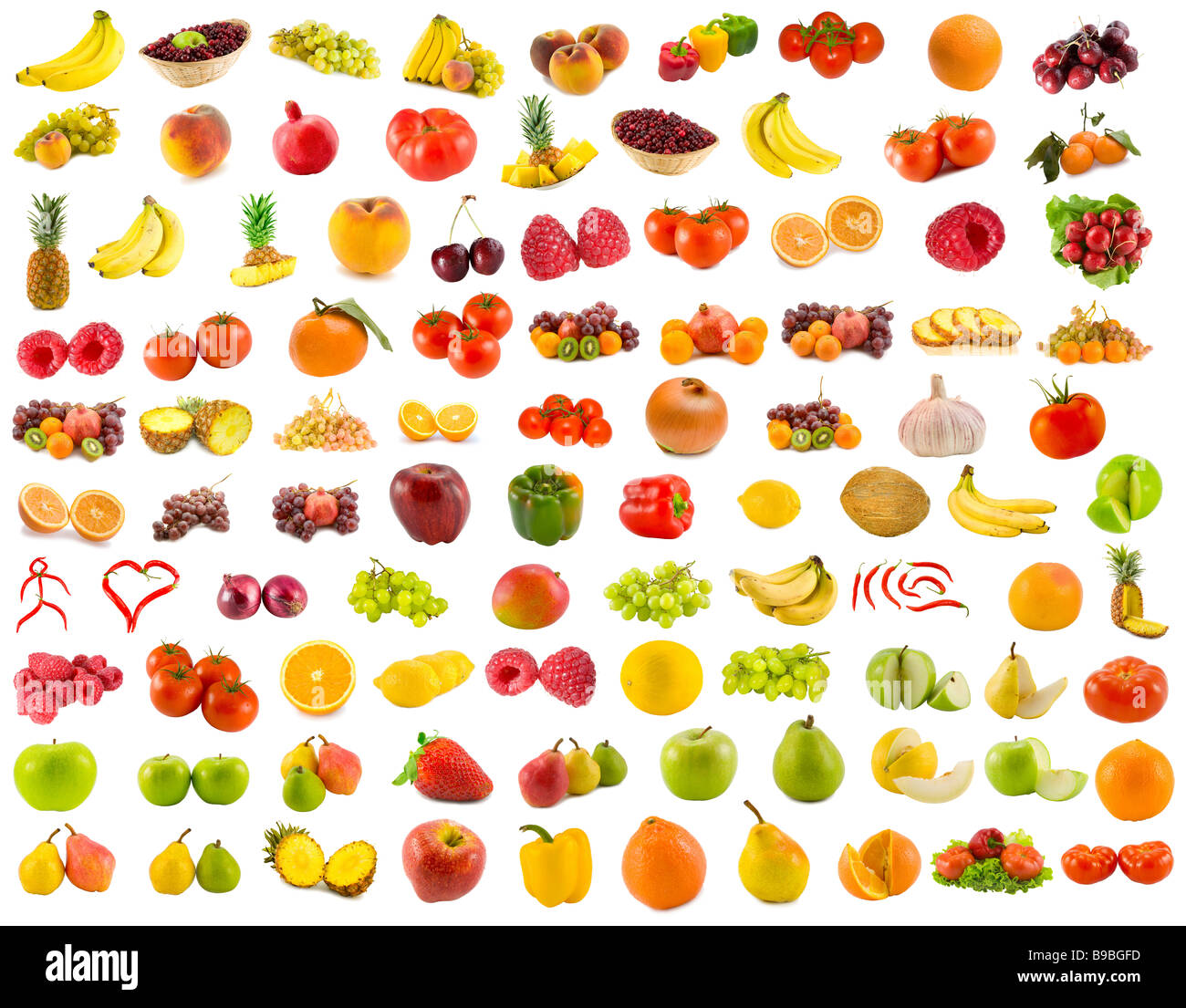 set from 96 various fruits vegetables and berries - Stock Image