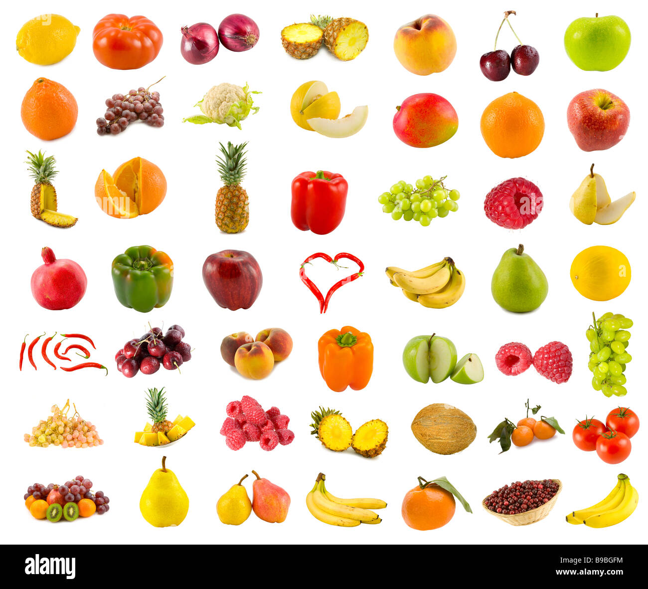 set from 49 various fruits vegetables and berries - Stock Image