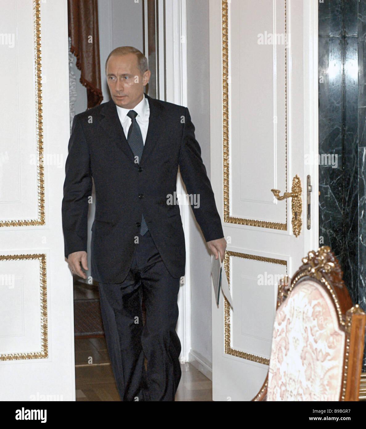 Russian President Vladimir Putin at a regular Cabinet meeting in the Kremlin - Stock Image