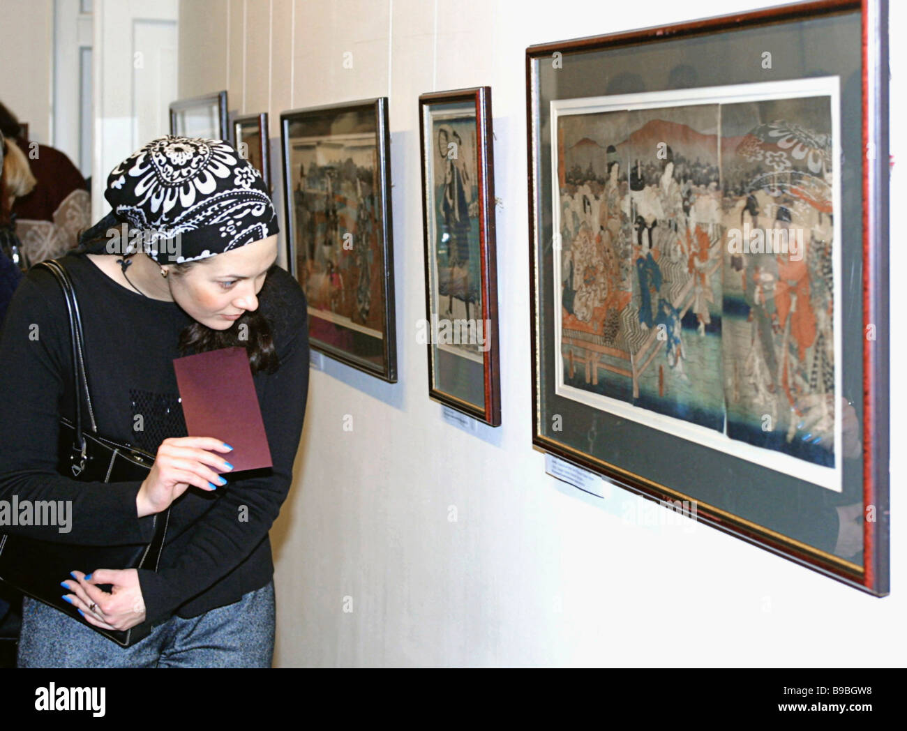 The Japanese Ukiyo e Art of the 2nd Half of the 19th Century exhibition in the Tseretely Art Gallery during the - Stock Image