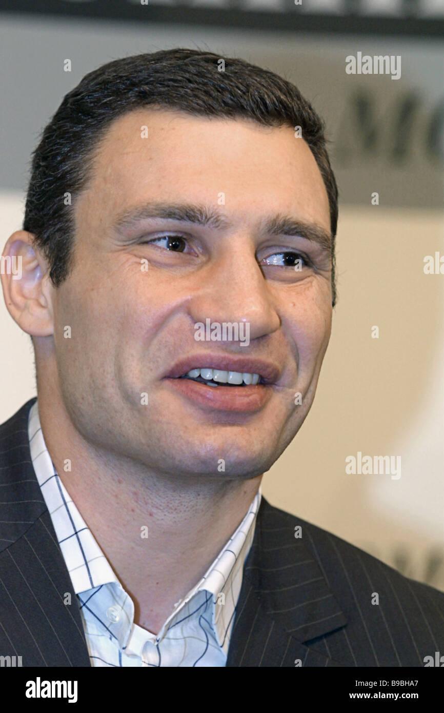 Famous heavyweight boxing champion Vitaly Klichko at a news conference - Stock Image