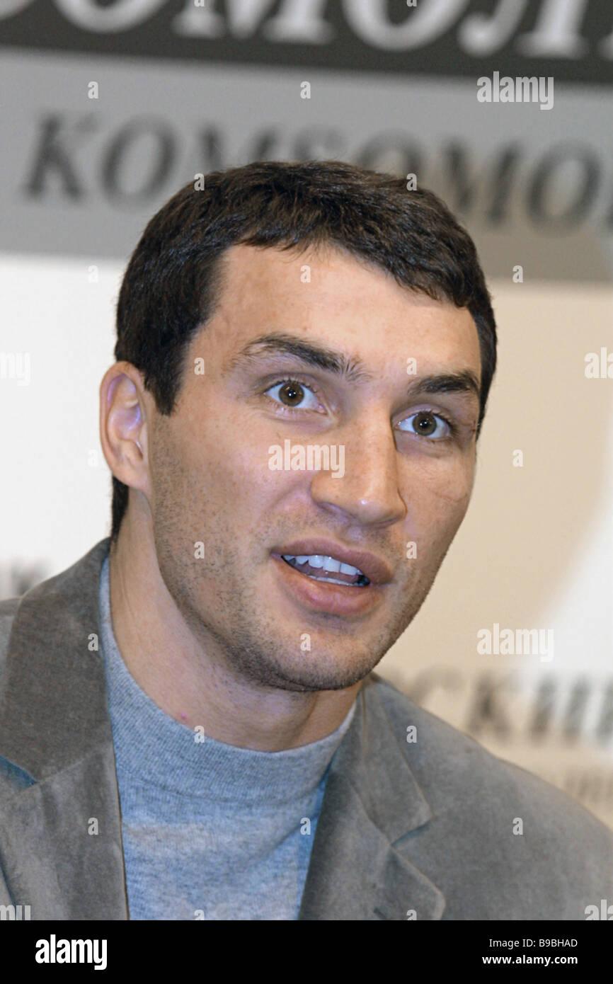 Heavyweight boxing champion Vladimir Klichko at a news conference - Stock Image