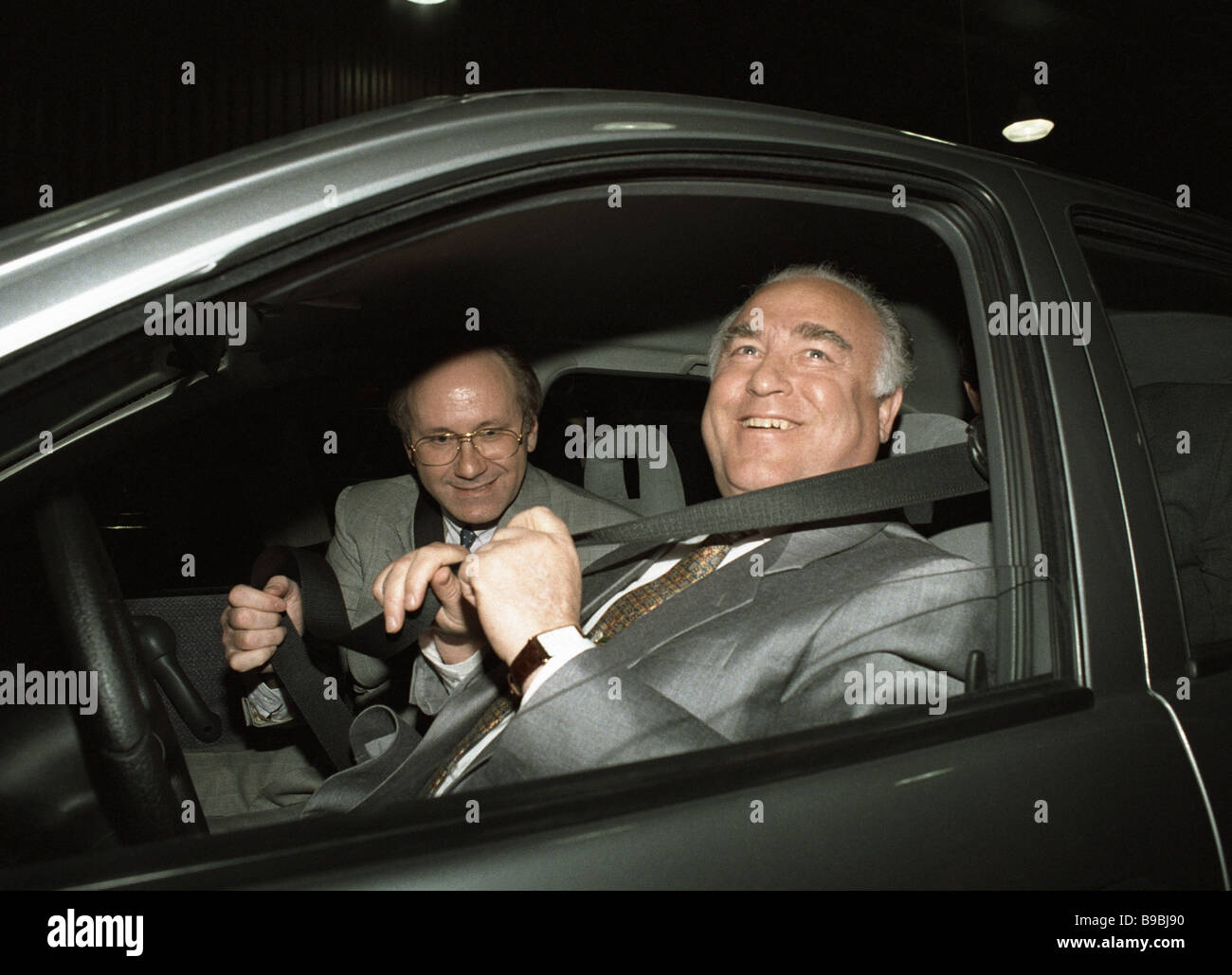 Russian Prime Minister Viktor Chernomyrdin at the testing area of General Motors factory Stock Photo