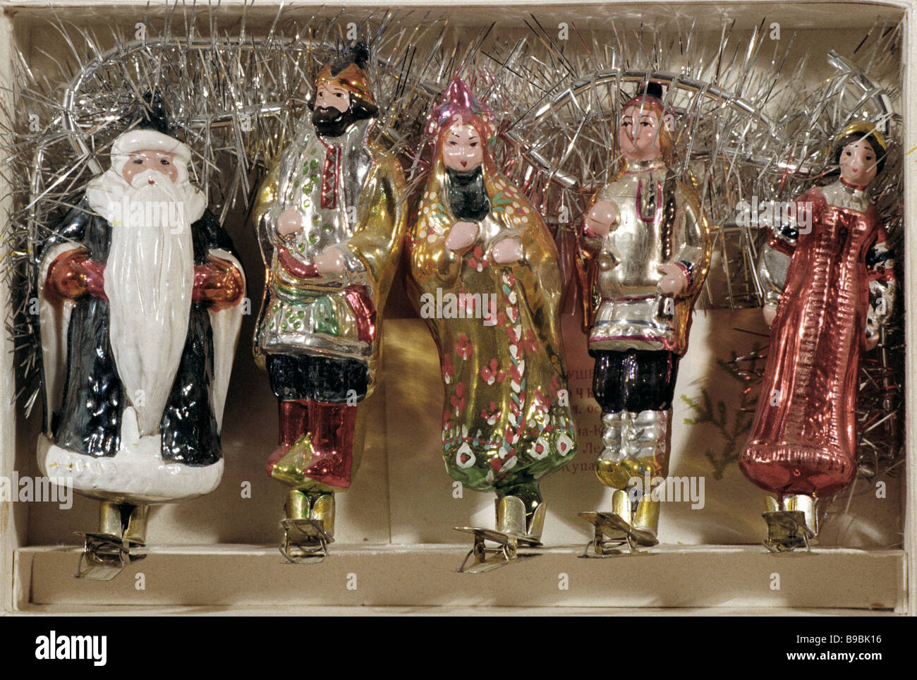 A set of toys for a Christmas tree decorated with personages from Russian fairy tales The beginning of 1950s The - Stock Image