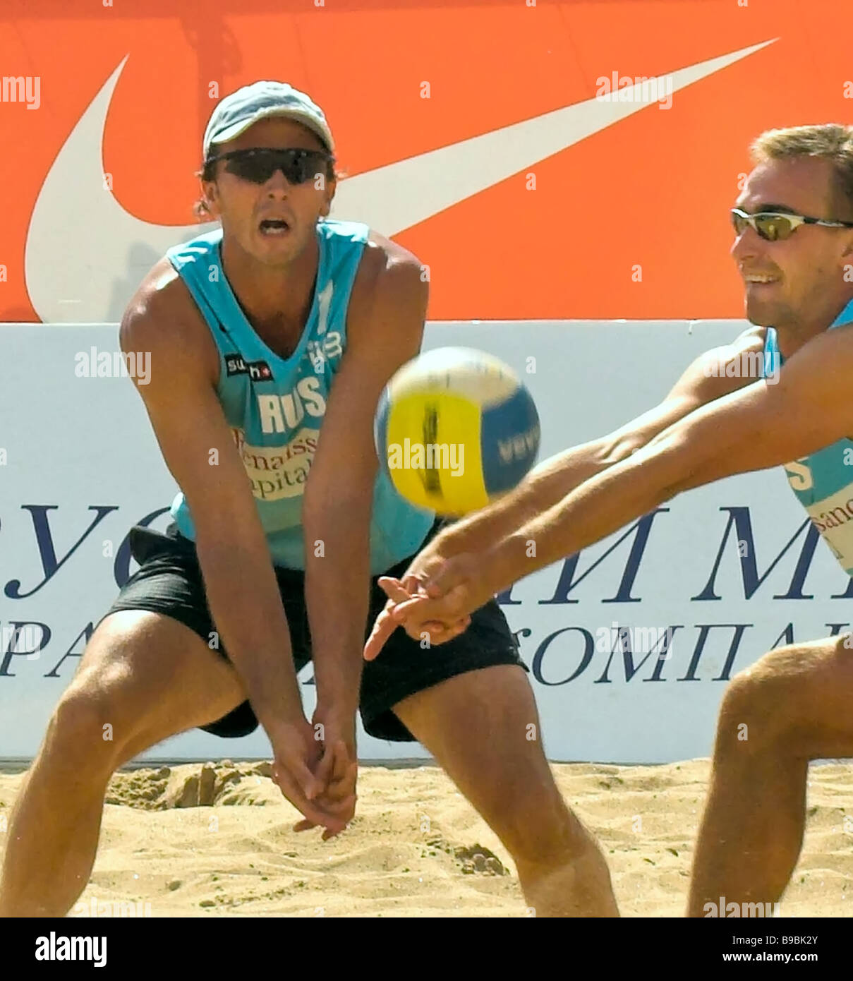 The Russian and Dutch teams meet in the beach volleyball St Petersburg Open semi finals Foreground Russia s Roman - Stock Image