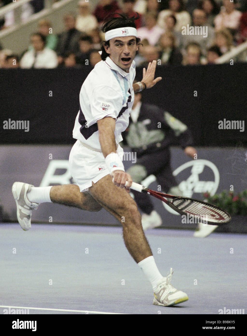 Spanish tennis player Emilio Sanchez Vicario at the First Moscow international professional tennis tournament The - Stock Image