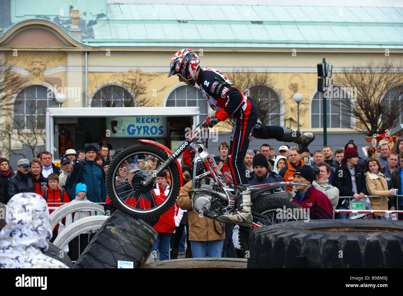 Vice-champion of stundriding Ales Polak of show stundriders to 13th international exhibition of motorcycles and - Stock Image
