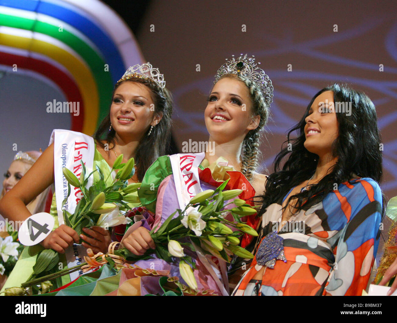 Muscovite Alexandra Mazur center 19 wins the Russian Beauty contest - Stock Image