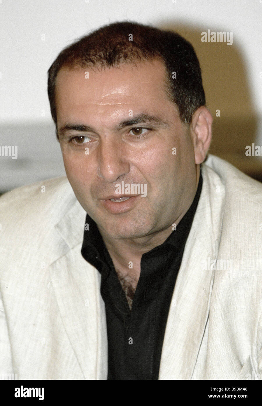 Head of the Russian Bank Association Garegin Tosunyan at the news conference - Stock Image