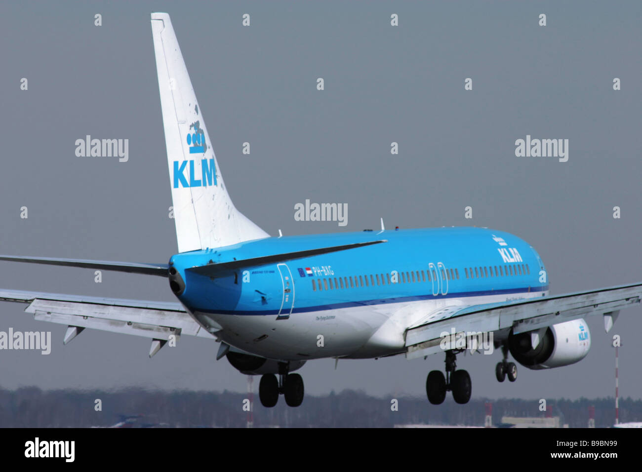 A KLM Royal Dutch Airlines Boeing 737 800 passenger airliner - Stock Image