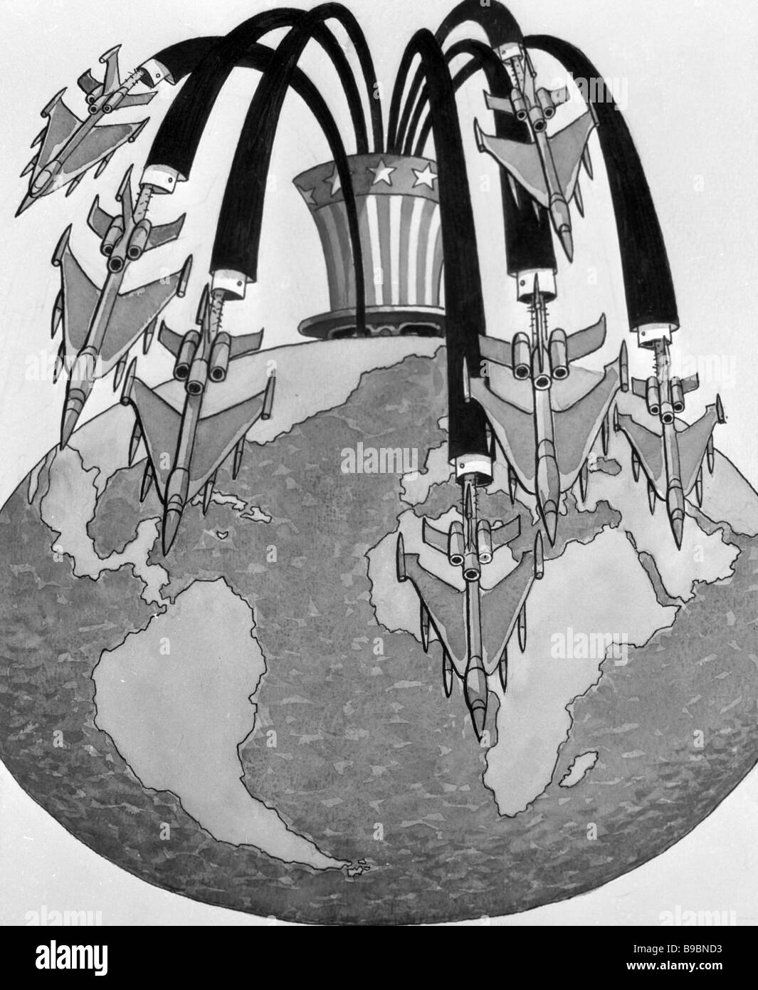 Reproduction of Givi Lomidze s cartoon The Eruption of neo Globalism - Stock Image
