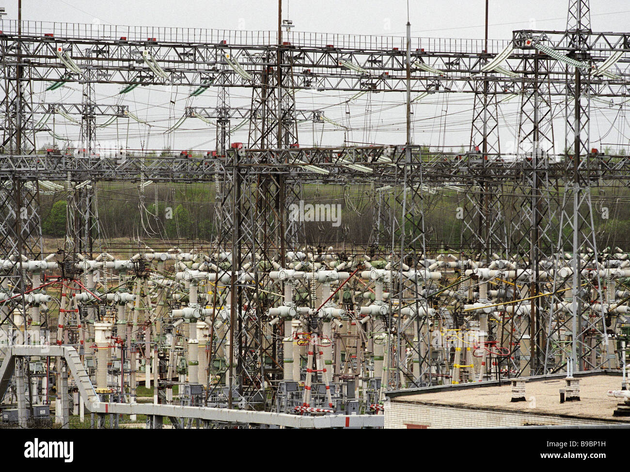 Kaliningrad nuclear power plant s power distribution network Stock Photo