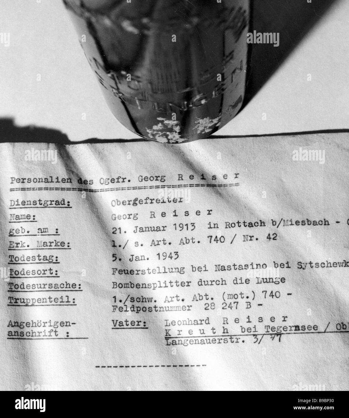 Note with information about Lance Corporal Georg Reiser found in a bottle by the Iskatel association s Krasnogorsk - Stock Image
