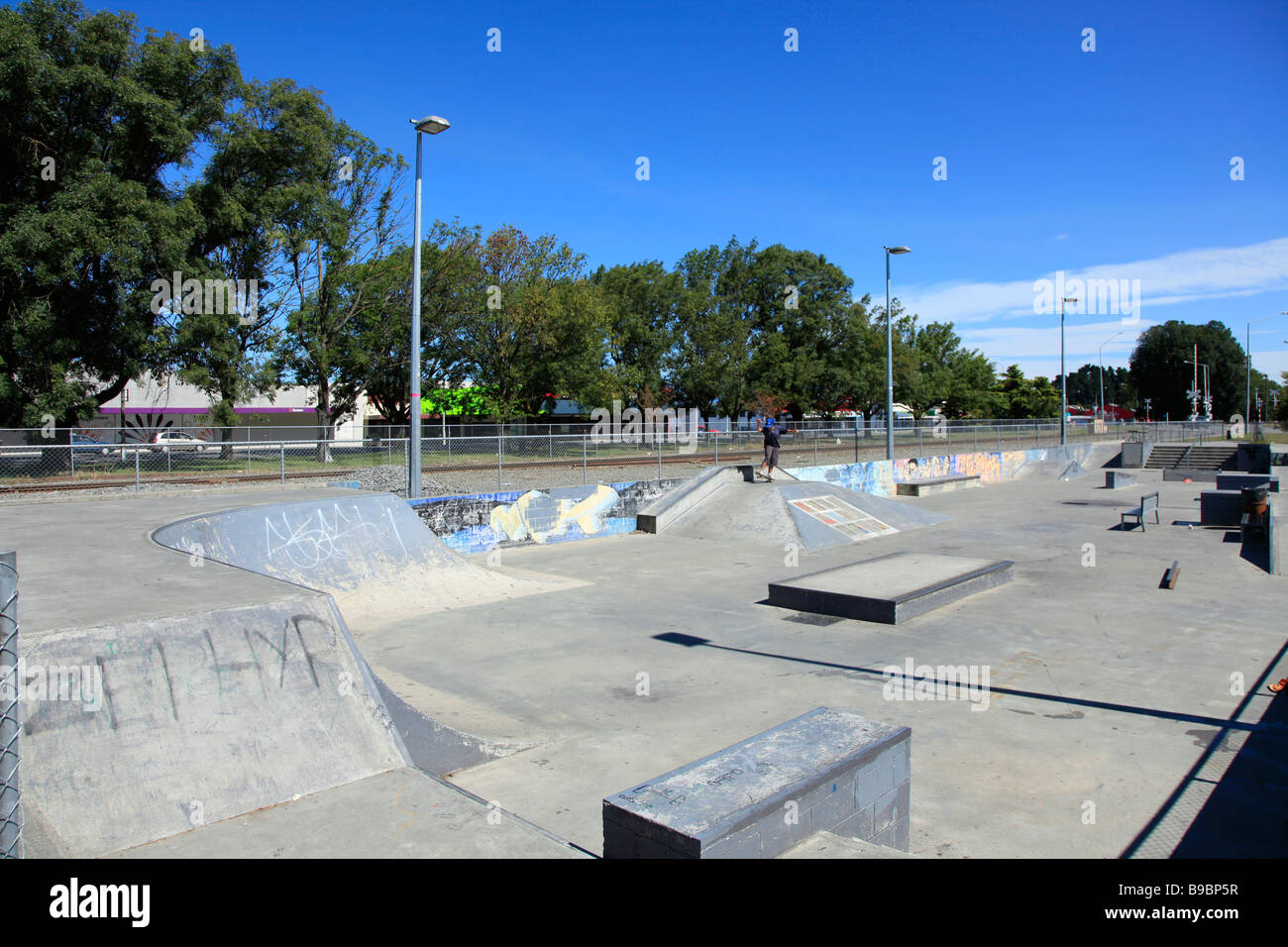 Skate board concrete park,Ashburton,Mid Canterbury,South Island,New Zealand - Stock Image
