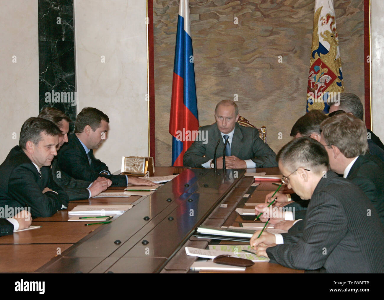 Russian President Vladimir Putin center holds conference with the federal Cabinet in the Kremlin - Stock Image