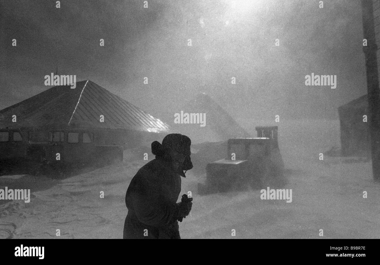 A snowstorm at the Aragats high altitude cosmic ray station of the Armenian Academy of Sciences Physics Institute - Stock Image